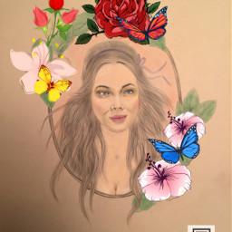 art portrait redlips blackhair butterfly