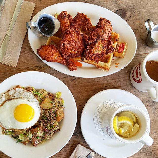Nashville style spicy fried chicken + waffle... 😍