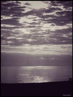 photography blackandwhite sea clouds silence