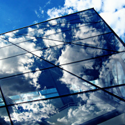clouds reflection glass brussels city