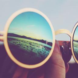reflection glasses vintage sunset canon