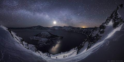 stars snow night nature milkyway