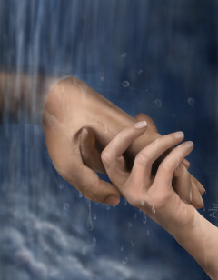 wdphands drawing hands waterfall water