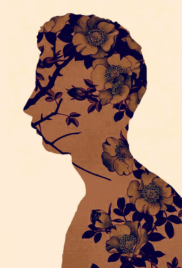 My silhouette with flowers from Japanese print !