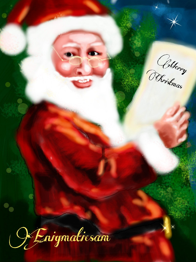 Merry Christmas to all!  #WDPholiday  #contest  #drawing #santa  #red  #people #emotions  #white  #tree #green  #blue  #stars  #yellow #art