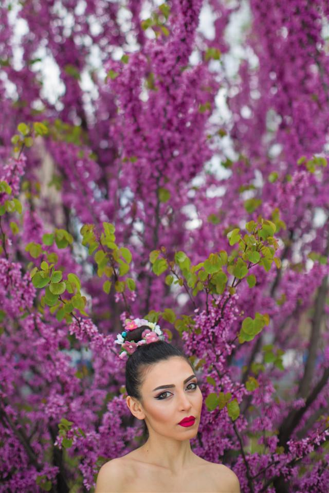 #freetoedit #portrait #girl #beauty #flowers #magenta #spring #grig15