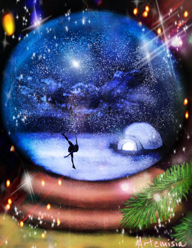 Skating in a Christmas snow globe #wdpholiday #drawing #christmas #digitalart #art