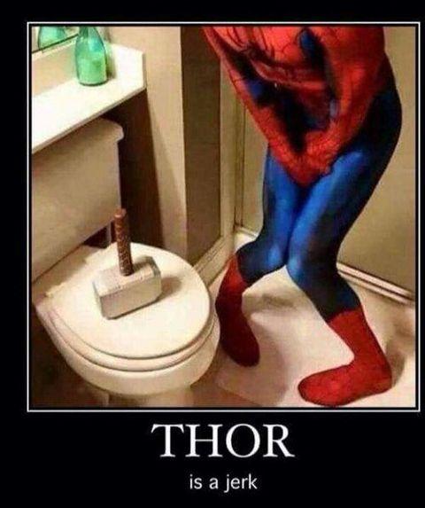 marvel thor spiderman toilet bathroom lol emotions people