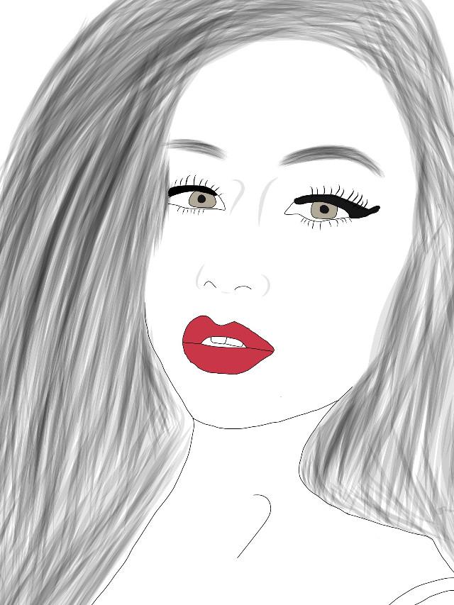 #outline #redlips #adobedraw #girl #mine