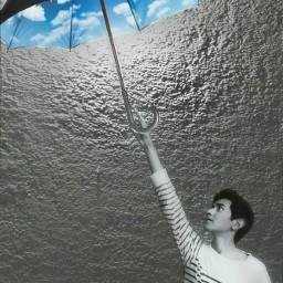 sky umbrella blackandwhite clouds