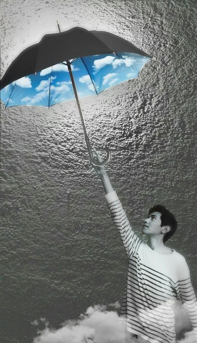 #sky #umbrella #blackandwhite  #clouds