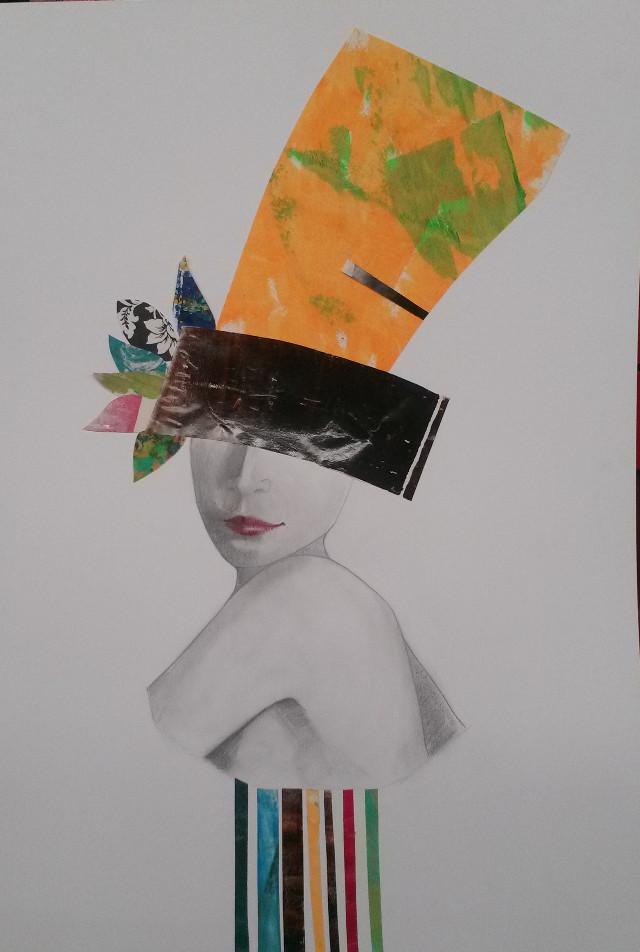 Collage, grafito y papel. #collage  #pencilart  #people #
