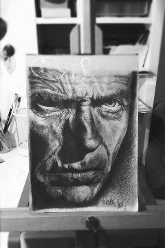 drawing pencil blackandwhite clinteastwood portrait
