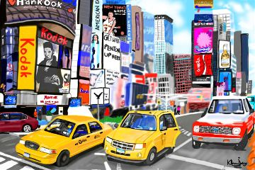 wdptimessquare digitalpainting drawing digitalart cars