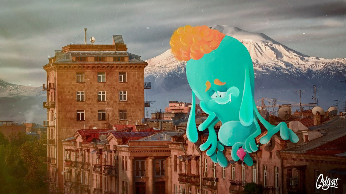 Monster in Yerevan 2 #yerevan #city  #monster #cartoon #drawing