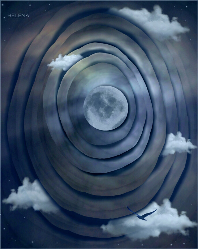 Reworked this one a bit #artistic #edited #moon #myinspiration #retro #clouds #clipart #space