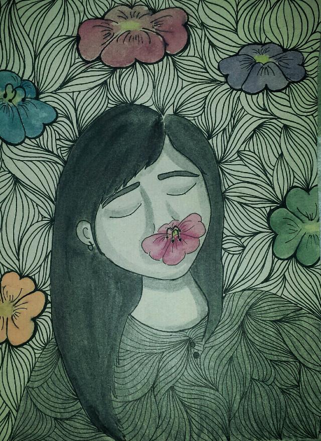 #person #spring #nature #flower #watercolour #cute #paulalart