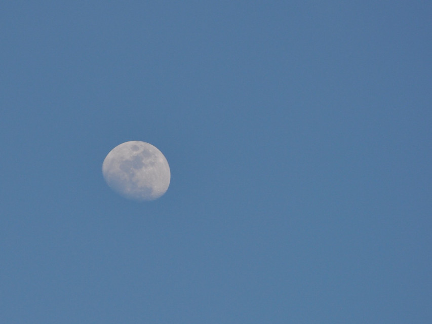 The #moon was visible in the afternoon today.  #unedited #bluesky #photography