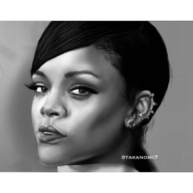 @rihanna @badgalriri #pencilart #love #people #cute #blackandwhite #photography #illustration #music #art #drawing #digitalart #digital_art #rihanna #artist #sketch #draw