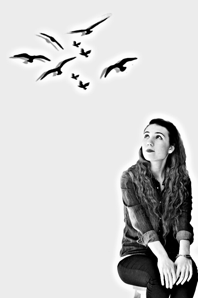 Girl looking at flying birds... #blackandwhite #hdr #photography #people  #birds  #girl  #photoshoot  #photoshop   #photograph  #instagram  #lilaphotograph  #flying