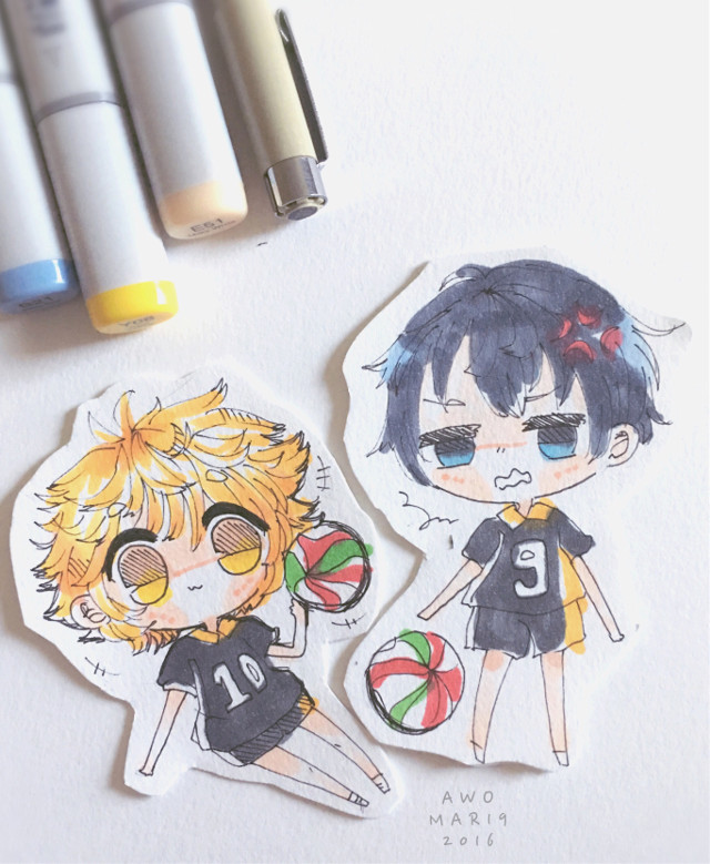 A request for a friend who loved Haikyuu ! XD these are v sloppy but i hope she likes these!  #haikyuu #traditionalart #chibi