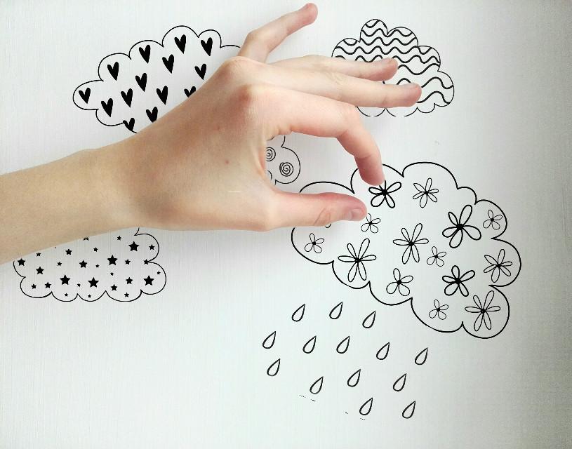 #FlowerDoodles #hand #cloudy #rain #white #meadowdream
