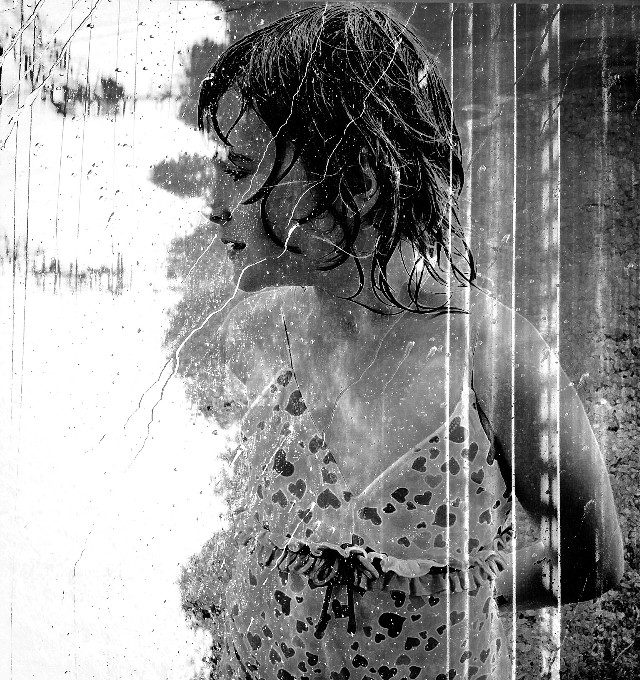 One more using an original pic of mine and a @freetoedit image.  #blackandwhite #emotion #rain