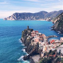 vernazza village peninsula ocean sea freetoedit