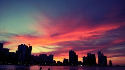 sunset beautiful water sky clouds