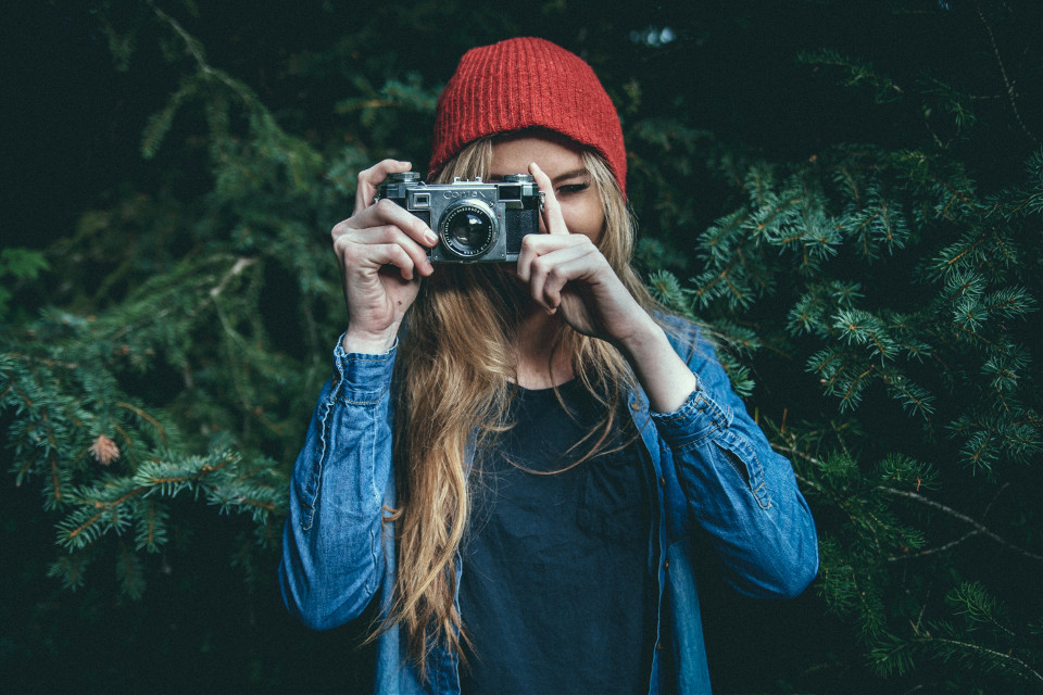 Capture the moment! Show us the crazy ways your mind can work.  Courtesy of Unsplash (Public Domain) ~ #FreeToEdit #portrait #camera #girl #people