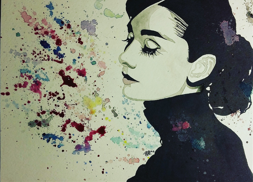 """A Splash Of Audrey""  Watercolor painting by Justin Frehs(with pencil and Sharpie)"