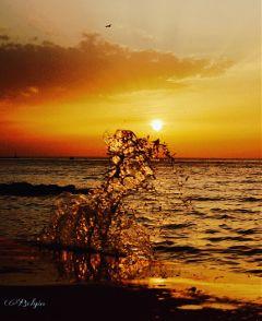 sunset sunsetcolors seaside orange wave